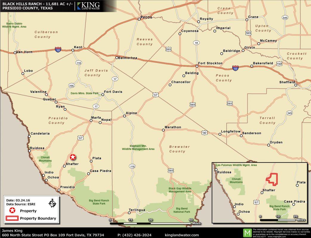 Black Hills location map