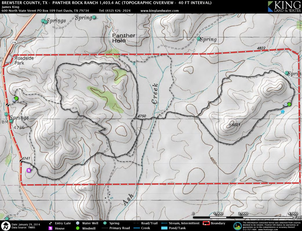 Panther Rock topo map
